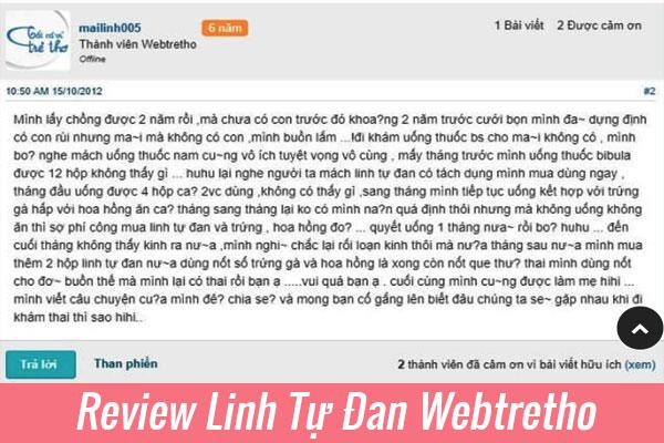 Review thuốc Linh Tự Đan Webtretho về kinh nghiệm dùng thuốc Linh Tự Đan