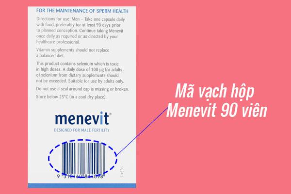 Mã vạch hộp Menevit 90 viên