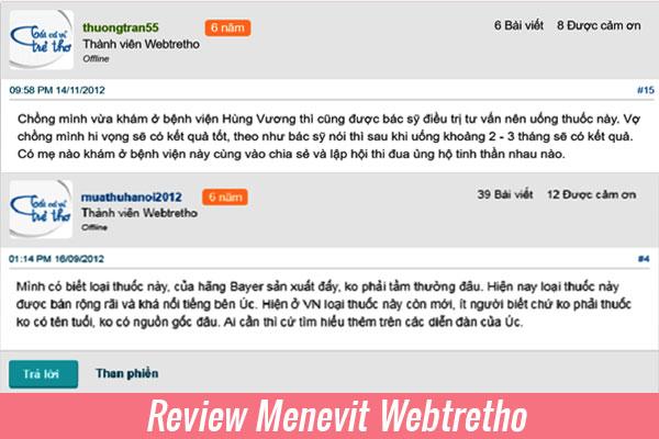 Review Menevit từ người dùng Webtretho