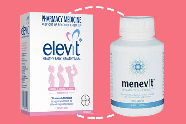 Sự kết hợp của combo Elevit và Menevit Úc