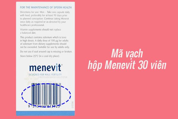 Mã vạch hộp Menevit 30 viên