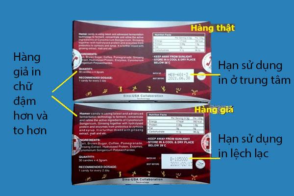 Phân biệt kẹo sâm Hamer thật và giả